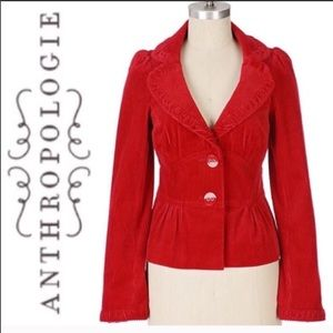 Anthropologie Elevenses Red Corduroy Jacket Size 8